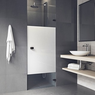 VIGO Tempo 28-inch Adjustable Frameless Shower Door with Privacy Panel Glass and Antique Rubbed Bronze Hardware