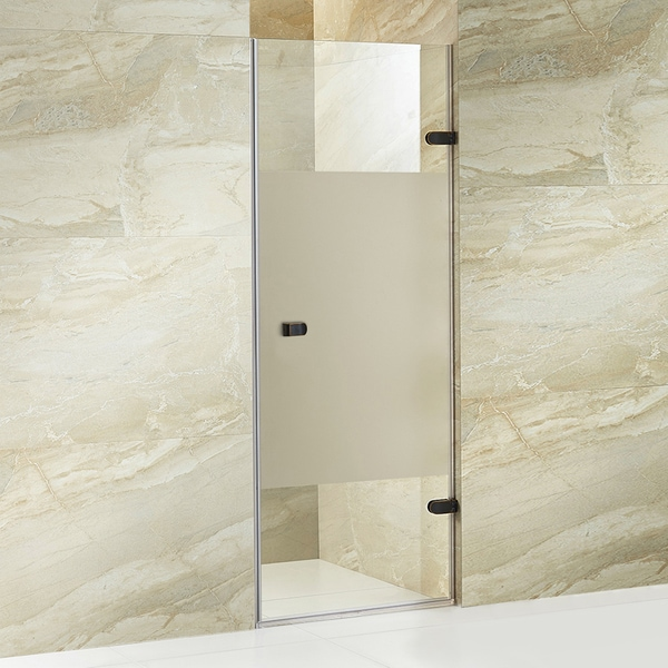 vigo tempo 28 inch adjustable frameless shower door with privacy panel glass and antique rubbed. Black Bedroom Furniture Sets. Home Design Ideas