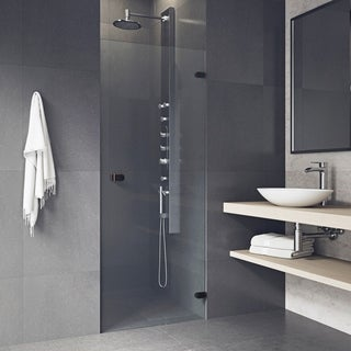 VIGO Tempo 30-inch Adjustable Frameless Shower Door with Clear Glass and Antique Rubbed Bronze Hardware