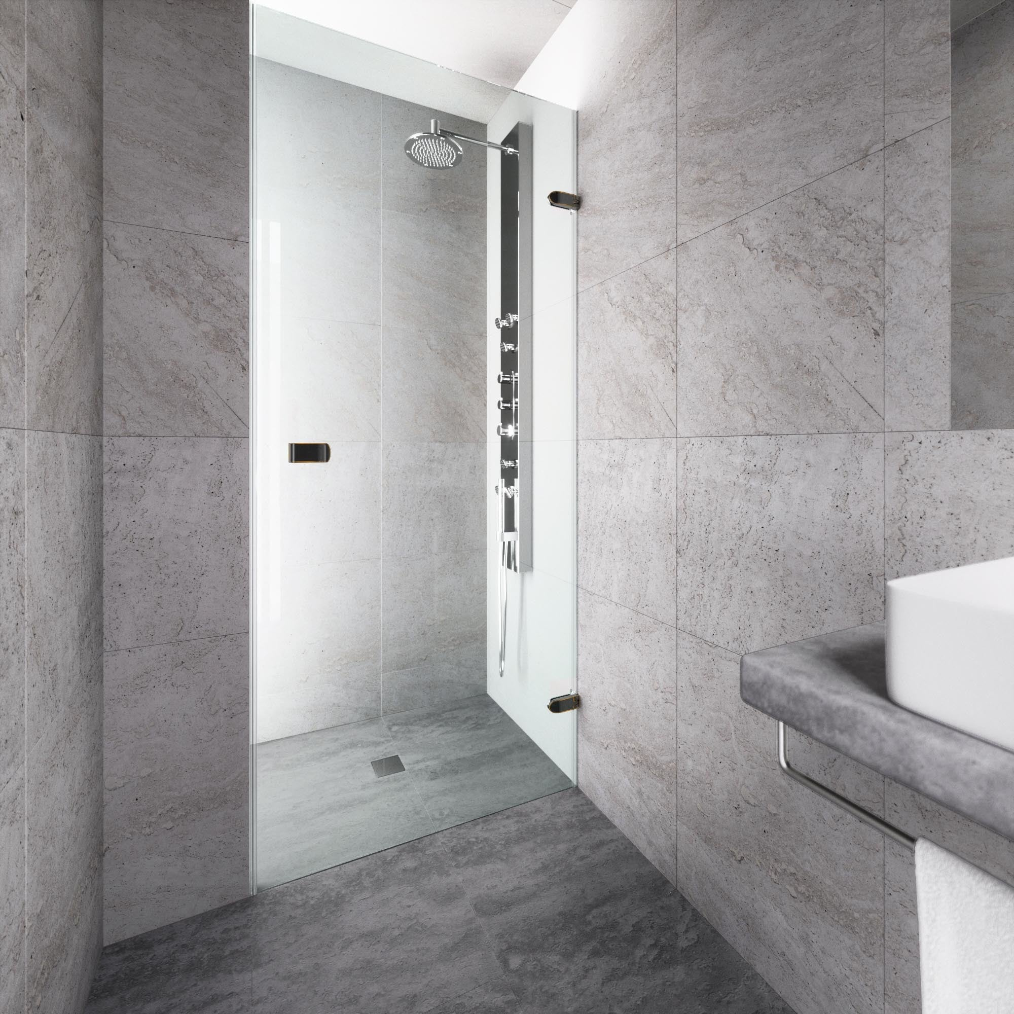Vigo Tempo 30 Inch Adjustable Frameless Shower Door With Clear Glass And Antique Rubbed Bronze Hardware