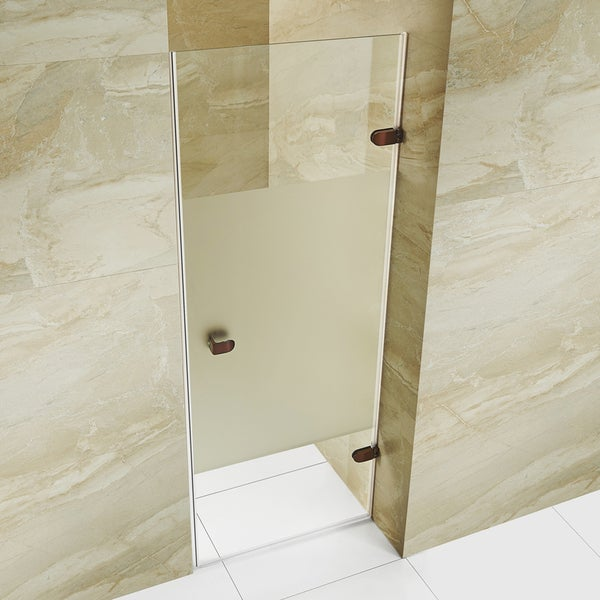 vigo tempo 28inch adjustable frameless shower door with privacy panel glass and oil rubbed