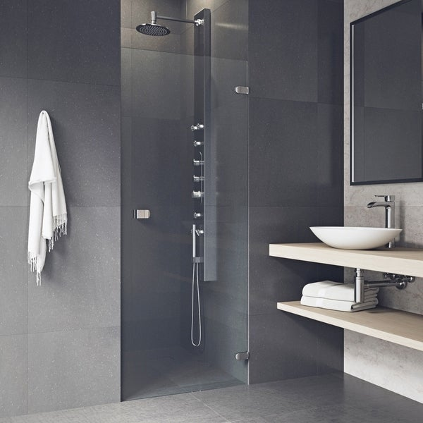 shop vigo tempo 24 inch adjustable frameless shower door clear stainless steel free shipping. Black Bedroom Furniture Sets. Home Design Ideas