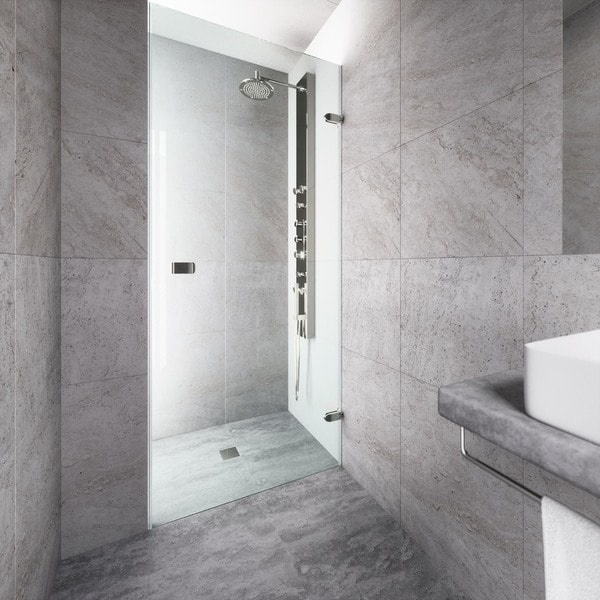 VIGO Tempo 26-inch Adjustable Frameless Shower Door with Clear Glass and Stainless Steel Hardware