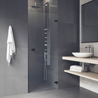 VIGO Tempo 26-inch Adjustable Frameless Shower Door with Clear Glass and Antique Rubbed Bronze Hardware