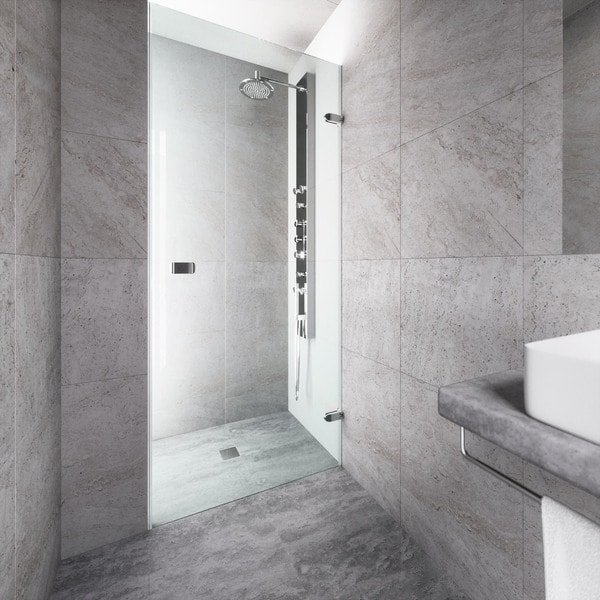 VIGO Tempo 26 Inch Adjustable Frameless Shower Door With Clear Glass And  Chrome Hardware