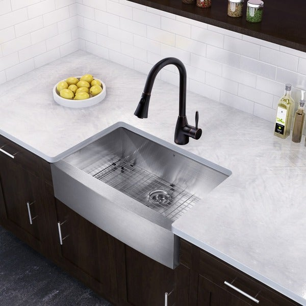 VIGO All-in-One 30-inch Stainless Steel Farmhouse Kitchen Sink and Aylesbury Antique Rubbed Bronze Faucet Set