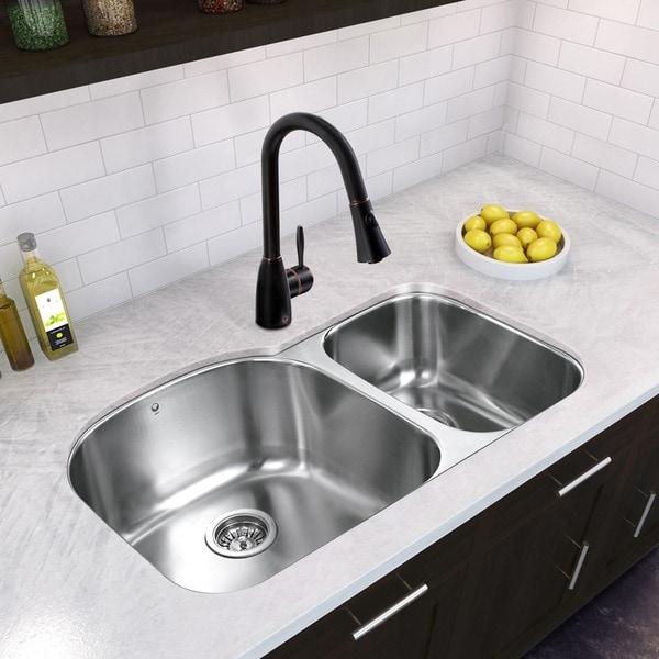 VIGO All In One 31 Inch Stainless Steel Undermount Kitchen Sink And  Aylesbury