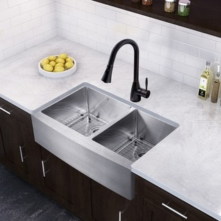 VIGO 36-inch Farmhouse Stainless Steel Double Bowl Kitchen Sink and Aylesbury Antique Rubbed Bronze Pull-Down Kitchen Faucet