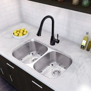 VIGO 32-inch Undermount Double Bowl Kitchen Sink and Aylesbury Antique Rubbed Bronze Pull-Down Spray Kitchen Faucet
