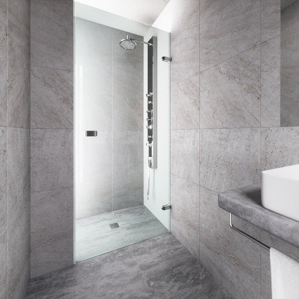 Vigo Tempo 30 Inch Adjule Frameless Shower Door With Clear Gl And Chrome Hardware