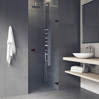 VIGO Tempo 24-inch Adjustable Frameless Shower Door with Clear Glass and Oil Rubbed Bronze Hardware