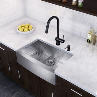 VIGO 30-inch Undermount Single Bowl Kitchen Sink and Aylesbury Antique Rubbed Bronze Pull-Down Spray Kitchen Faucet
