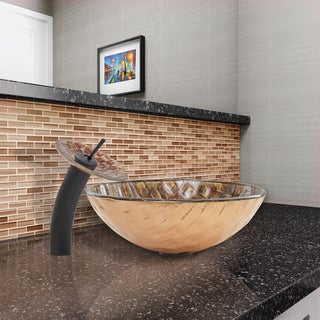 VIGO Playa Glass Vessel Sink and Waterfall Faucet Set in Matte Black Finish