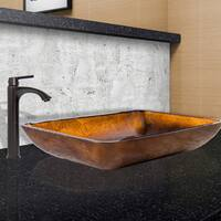 VIGO Rectangular Russet Glass Vessel Sink and Linus Faucet Set in Antique Rubbed Bronze Finish