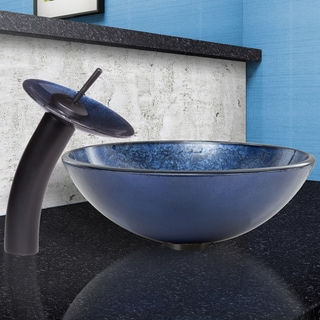 VIGO Indigo Eclipse Glass Vessel Sink and Waterfall Faucet Set in Matte Black Finish
