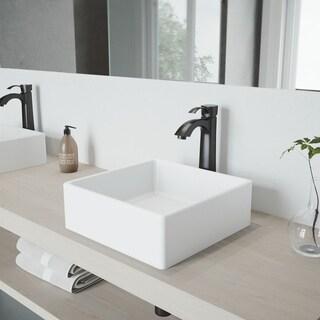 VIGO Bavaro Composite Vessel Sink and Otis Bathroom Vessel Faucet in Matte Black