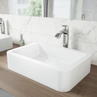 VIGO Petunia Matte Stone Vessel Sink Set and Linus Vessel Faucet