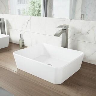 VIGO Sirena Matte Stone Vessel Sink and Duris Bathroom Vessel Faucet in Brushed Nickel