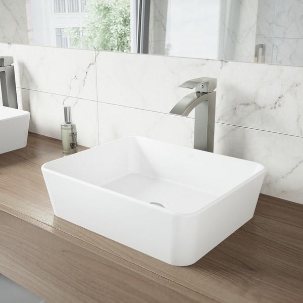 VIGO Marigold Matte Stone Vessel Bathroom Sink and Duris Faucet Set