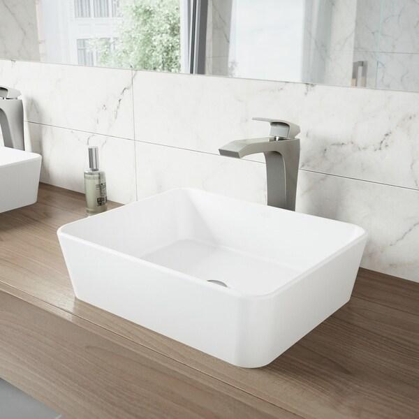 VIGO Marigold Vessel Bathroom Sink and Blackstonian Faucet Set