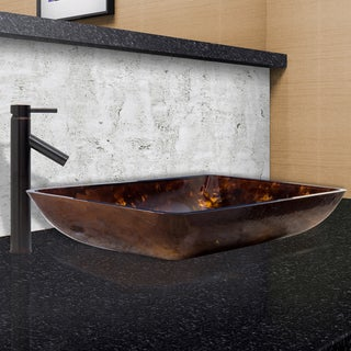 VIGO Rectangular Brown and Gold Fusion Glass Vessel Sink and Dior Faucet Set in Antique Rubbed Bronze Finish