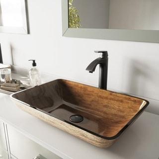 VIGO Rectangular Amber Sunset Glass Vessel Sink and Linus Faucet Set in Antique Rubbed Bronze Finish