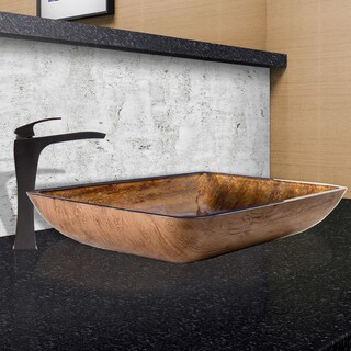 VIGO Rectangular Amber Sunset Glass Vessel Sink and Blackstonian Faucet Set in Antique Rubbed Bronze Finish