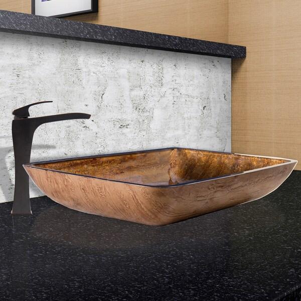 VIGO Rectangular Amber Sunset Glass Vessel Sink and Blackstonian Faucet Set in Antique Rubbed Bronze Finish