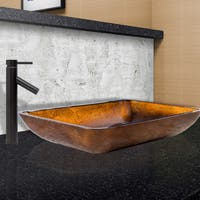 VIGO Rectangular Russet Glass Vessel Sink and Dior Faucet Set in Antique Rubbed Bronze Finish