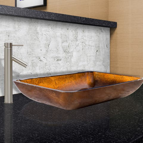 VIGO Rectangular Russet Glass Vessel Sink and Dior Faucet Set in Brushed Nickel Finish - Clear