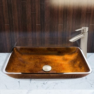 VIGO Rectangular Russet Glass Vessel Sink and Shadow Faucet Set in Brushed Nickel Finish