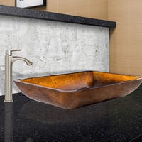 VIGO Rectangular Russet Glass Vessel Sink and Linus Faucet Set in Brushed Nickel Finish