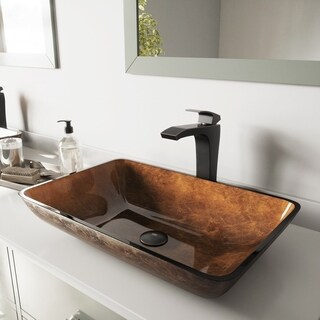 VIGO Rectangular Russet Glass Vessel Sink and Blackstonian Faucet Set in Antique Rubbed Bronze Finish