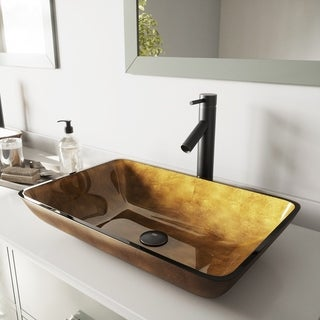 VIGO Rectangular Copper Glass Vessel Sink and Dior Faucet Set in Antique Rubbed Bronze Finish