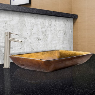 VIGO Rectangular Copper Glass Vessel Sink and Shadow Faucet Set in Brushed Nickel Finish