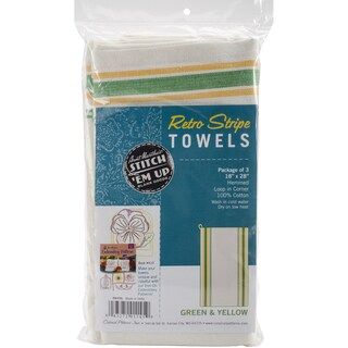 Stitch 'Em Up Retro Stripe Towels 18inX28in 3/PkgGreen Stripe