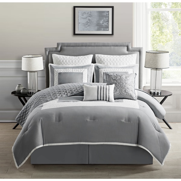 Monica contemporary border 9 piece comforter set free for Mobilia king size bed