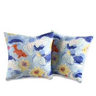 Lotus Koi Decorative Outdoor Throw Pillows (Set of 2)
