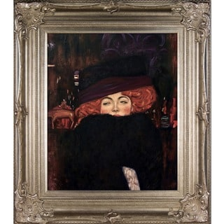 Gustav Klimt 'Lady with Hat and Feather Boa' Hand Painted Framed Canvas Art