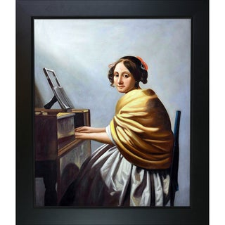 Johan Vermeer 'Young Woman Seated at the Verginals' Hand Painted Framed Canvas Art