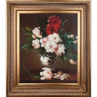 Edouard Manet 'Peonies In A Vase' Hand Painted Framed Canvas Art