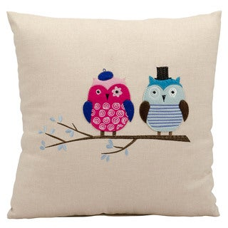 Mina Victory Lifestyle Mr and Mrs Owl Beige Throw Pillow (18-inch x 18-inch) by Nourison