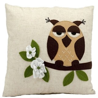 Mina Victory Lifestyle One Owl Beige Throw Pillow (18-inch x 18-inch) by Nourison