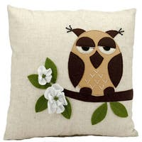 Mina Victory Lifestyle One Owl Beige Throw Pillowby Nourison (18-Inch X 18-Inch)