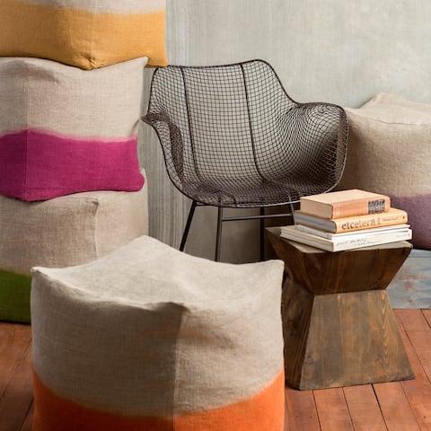 Solid Lada Square Linen 18-inch Pouf