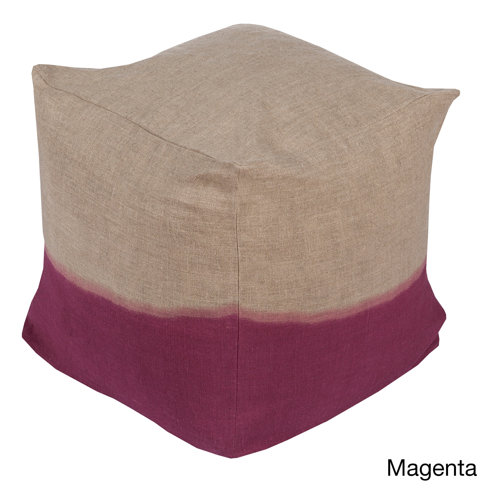 SURYA Solid Lada Square Linen 18-inch Pouf (Pink), Size 1...