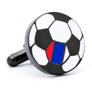 Gunmetal-plated South Korea Soccer Flag Cufflinks