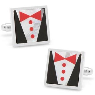 Silverplated Red Tie Tuxedo Cufflinks