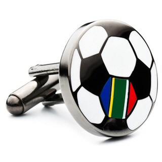 Gunmetal-plated South Africa Soccer Flag Cufflinks