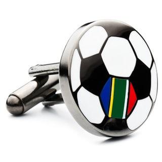 Gunmetal-plated South Africa Soccer Flag Cufflinks